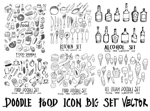 Food doodle illustration wallpaper background line sketch style set on chalkboard eps10 Food doodle illustration wallpaper background line sketch style set on chalkboard cake drawings stock illustrations