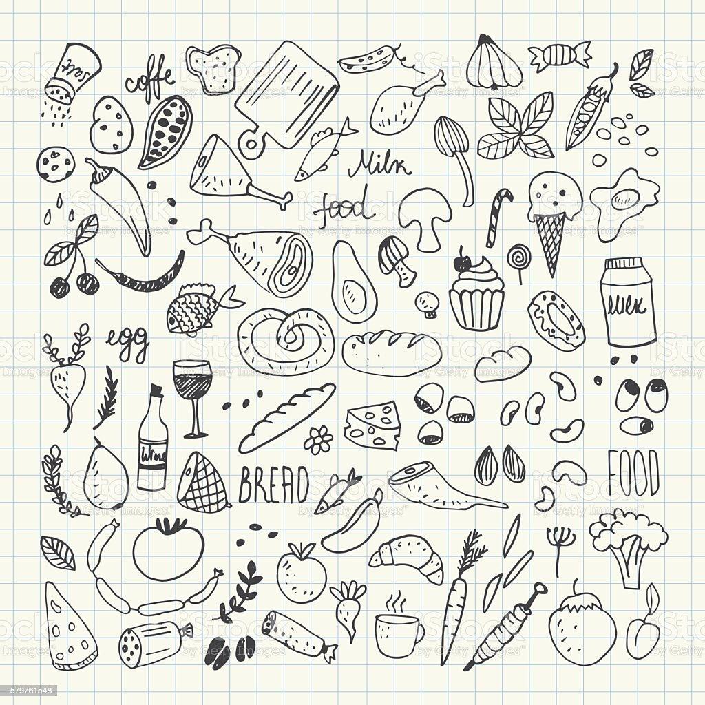 Food Doodles Collection Hand Drawn Vector Icons Freehand Drawing