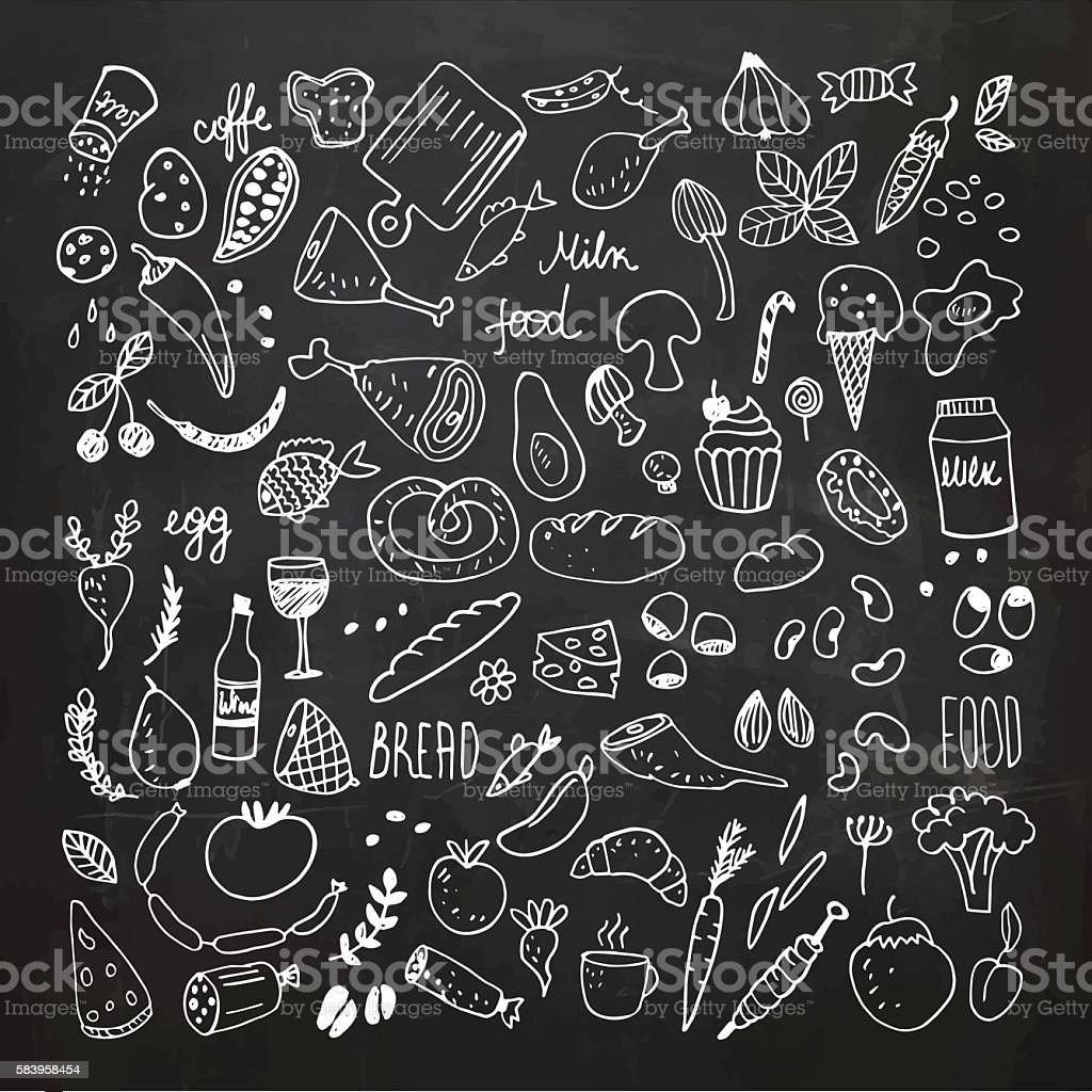 Food doodles collection. Hand drawn vector icons. Freehand drawing royalty-free food doodles collection hand drawn vector icons freehand drawing stock illustration - download image now
