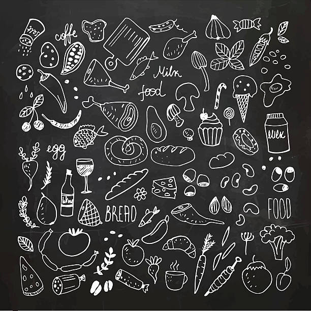 Food doodles collection. Hand drawn vector icons. Freehand drawing Food doodles chalkboard collection. Hand drawn icons. Freehand chalk drawing. Vector Illustration.EPS10, Ai10, PDF, High-Res JPEG included. bread drawings stock illustrations