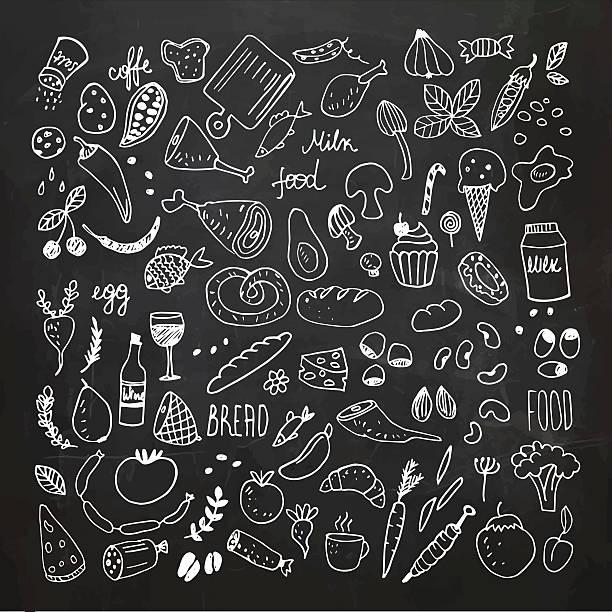 ilustrações, clipart, desenhos animados e ícones de food doodles collection. hand drawn vector icons. freehand drawing - ingredientes