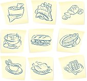 """Doodle drawings of chips and salsa, lettuce, bread, bowl of soup, sandwich, salmon, gravy, turkey and slice of cake on sticky notes. Check out my """"Vector Food and Utensils"""" light box for more."""