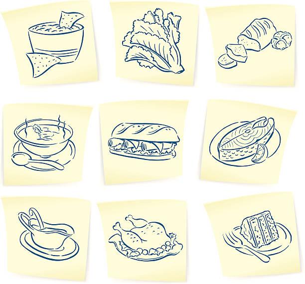speisen und kritzeleien auf klebezettel - lachskuchen stock-grafiken, -clipart, -cartoons und -symbole