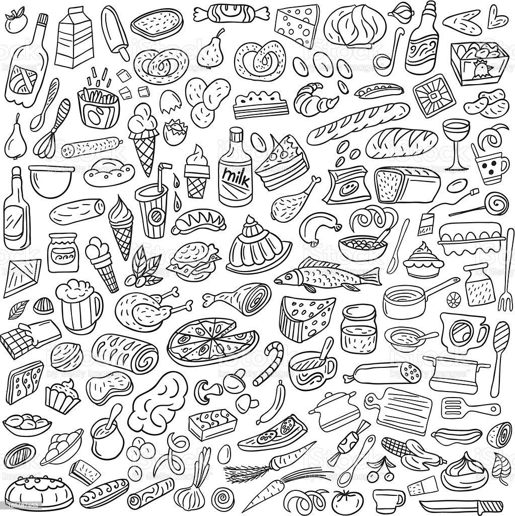 Food Doodles Stock Illustration - Download Image Now - iStock