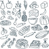 Food doodles. Vector illustration. Different types of food.