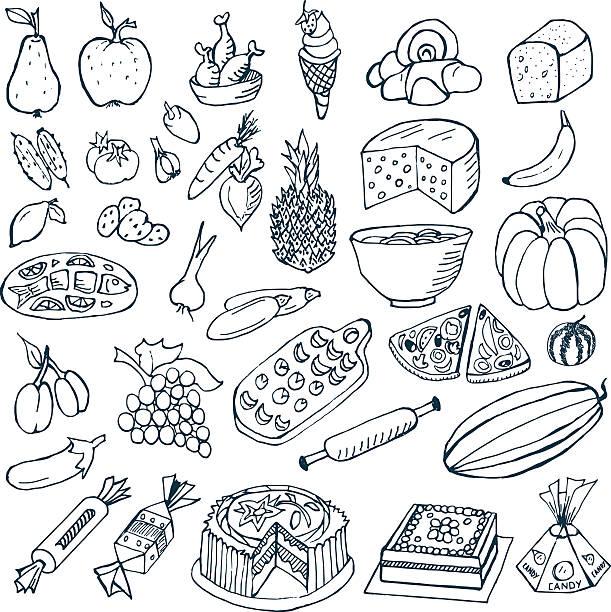 speisen und kritzeleien - pflaumenkuchen stock-grafiken, -clipart, -cartoons und -symbole