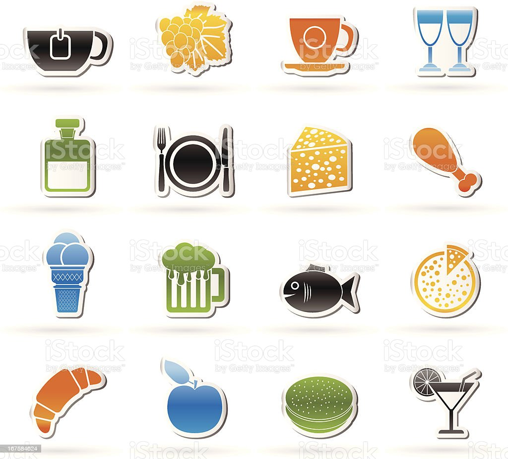 Food, Drink and beverage icons royalty-free stock vector art