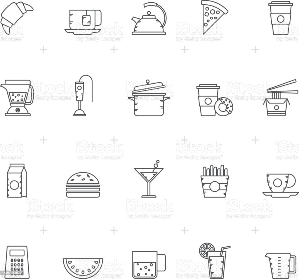 Food, Drink and kitchen equipment icons 2 - vector icon set
