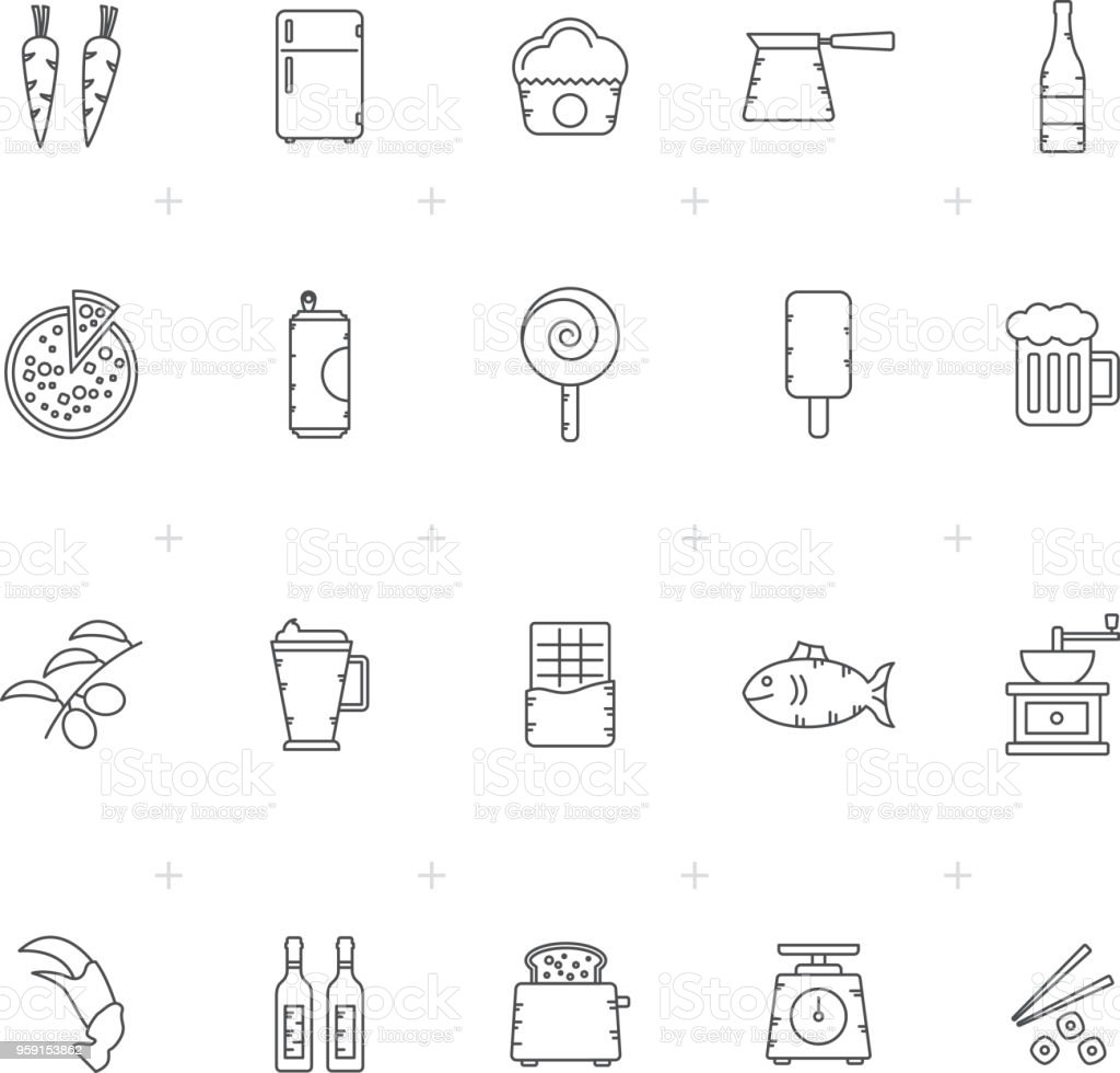 Food, Drink and kitchen equipment icons 4 - vector icon set