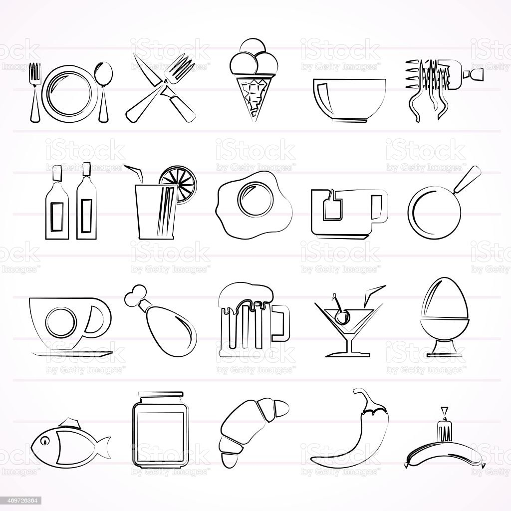 Food, drink and restaurant icons - vector icon set