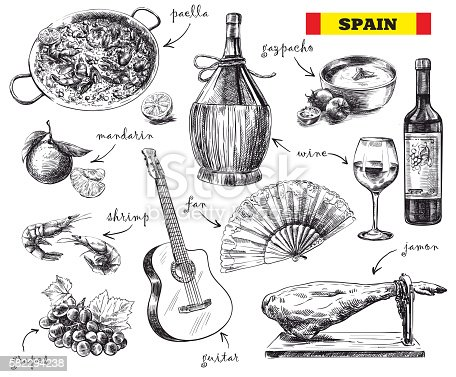 hand drawn sketches of food, drink and the mood in Spain on a white background