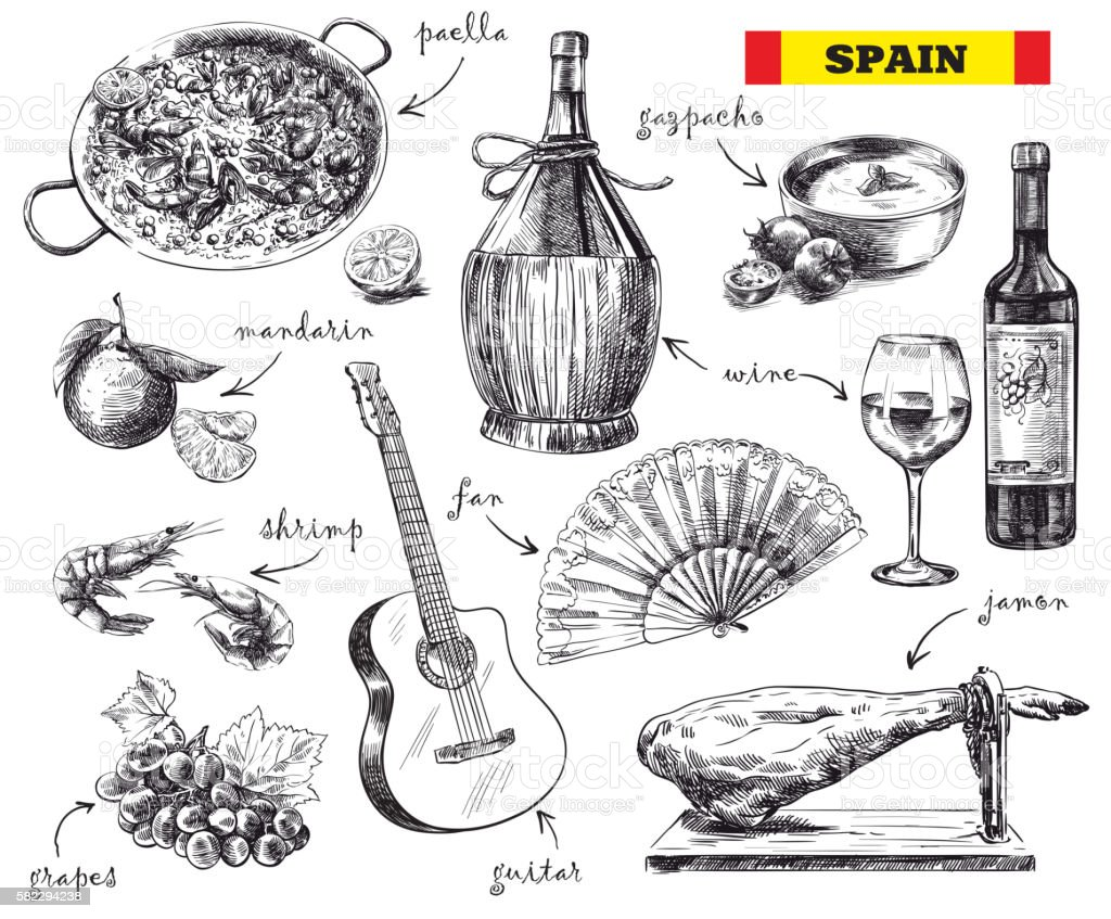 food, drink and the mood in Spain vector art illustration