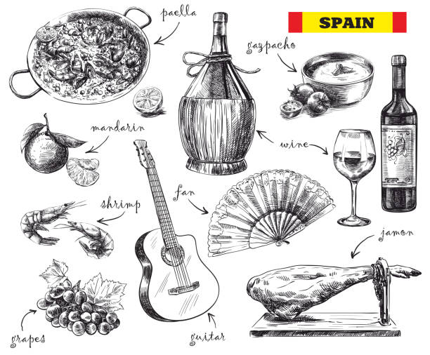 stockillustraties, clipart, cartoons en iconen met food, drink and the mood in spain - paella