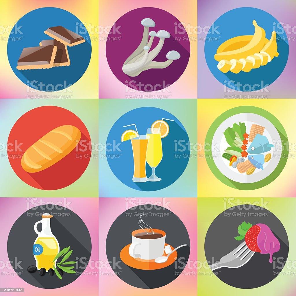 food drink dishes icon set vector art illustration