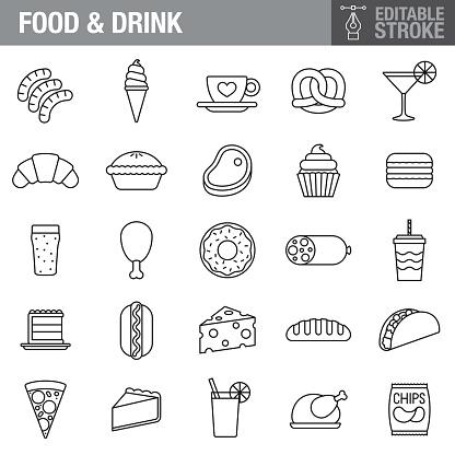 Food & Drink Editable Stroke Icon Set