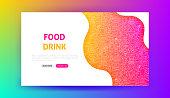 Food Drink Landing Page. Vector Illustration of Web Banner.