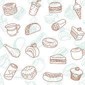 Simple food & drink line art icon seamless wallpaper pattern.