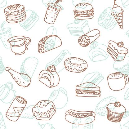 food & drink line art icon seamless wallpaper pattern