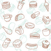 Simple food & drink line art icon seamless wallpaper pattern.