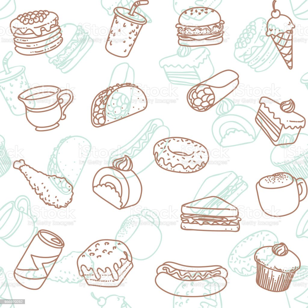 Essen & trinken Kunst Symbol nahtlose Tapete Linienmuster – Vektorgrafik