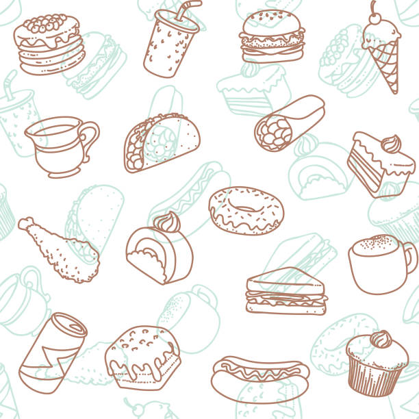 food & drink line art icon seamless wallpaper pattern Simple food & drink line art icon seamless wallpaper pattern. cake drawings stock illustrations