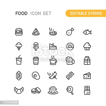 Set of food and drink outline vector icons. Editable stroke.