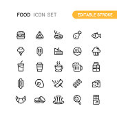 Food & Drink Outline Icons Editable Stroke