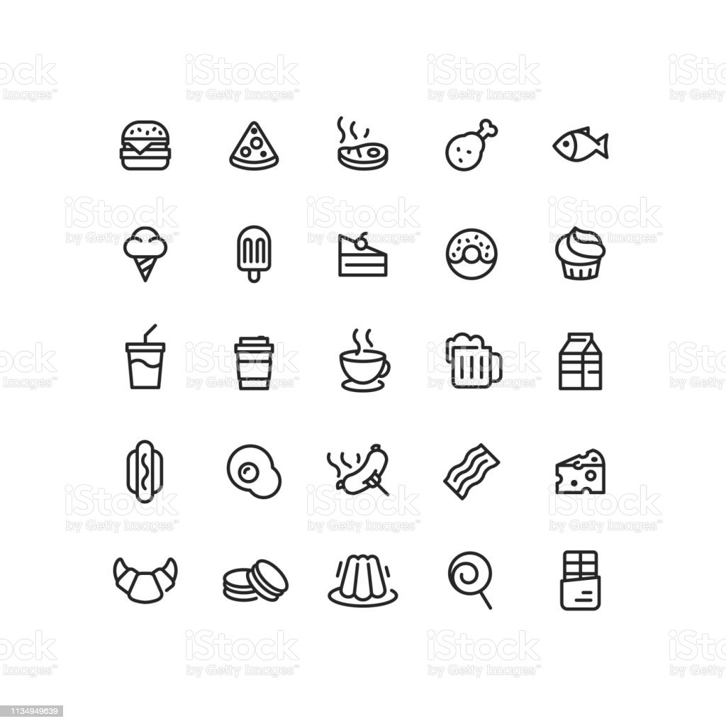 Set of food and drink outline vector icons.