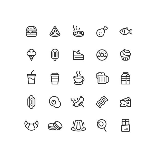 Food & Drink Outline Icons Set of food and drink outline vector icons. jello stock illustrations