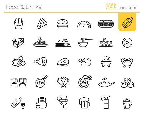 Food & Drinks Icons // Line Premium
