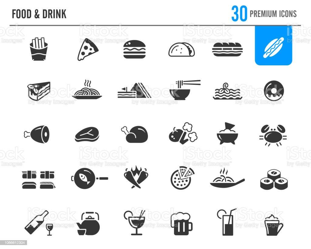 Food & Drinks Icons // Premium Series - arte vettoriale royalty-free di Arrosto - Cibo cotto