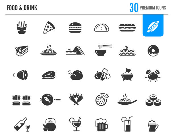 food & drinks icons // premium series - sub sandwich stock illustrations, clip art, cartoons, & icons