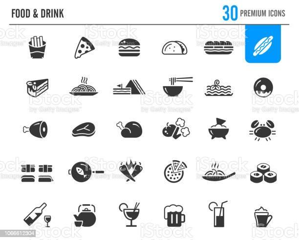 Food Drinks Icons Premium Series - Immagini vettoriali stock e altre immagini di Arrosto - Cibo cotto