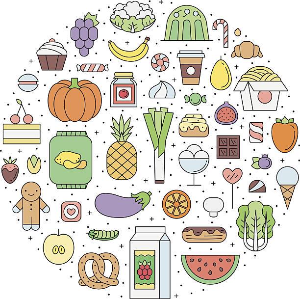 food & drinks (grocery) outline circle illustration. part one. - feigensalat stock-grafiken, -clipart, -cartoons und -symbole
