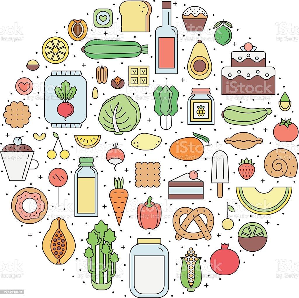 Food & drinks (grocery) outline circle illustration. Part two. vector art illustration
