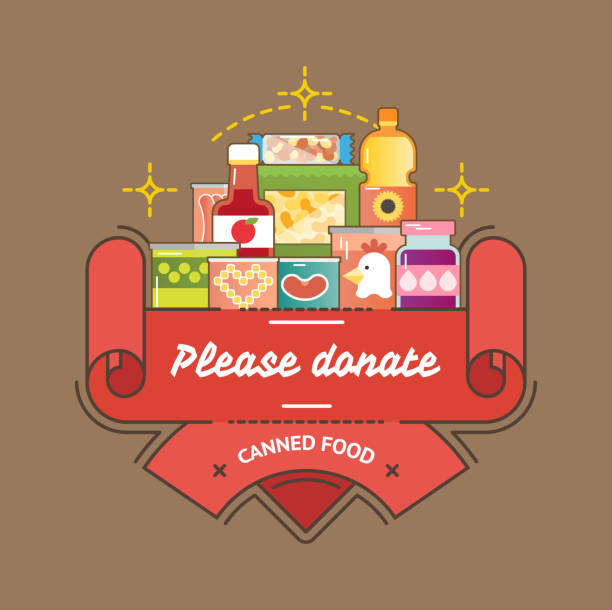Food Drive canned food charity movement Food Drive canned food charity movement, vector badge logo illustration food drive stock illustrations