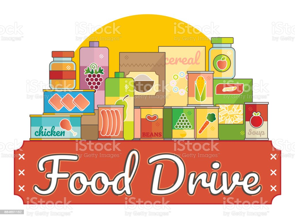 Food Drive charity movement Food Drive charity movement  vector illustration Altruism stock vector