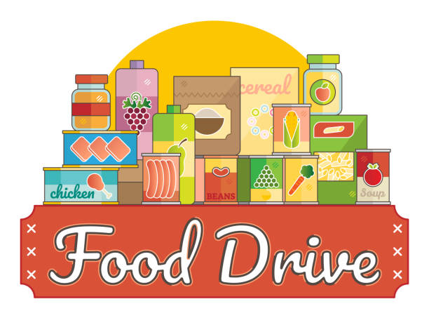 Food Drive charity movement Food Drive charity movement  vector illustration food drive stock illustrations