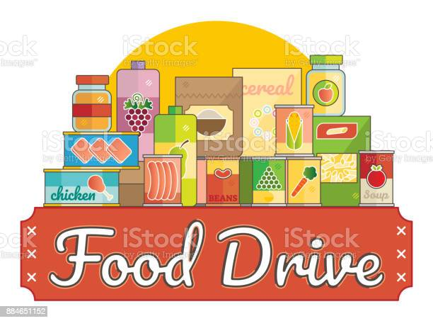 Food Drive Charity Movement Stock Illustration - Download Image Now