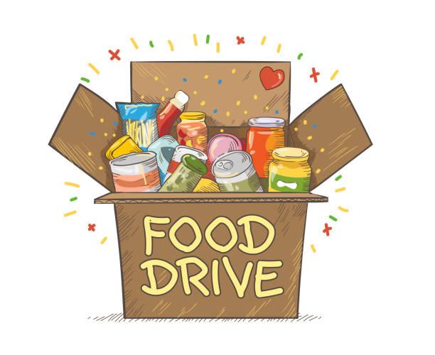 Food Drive charity movement vector art illustration