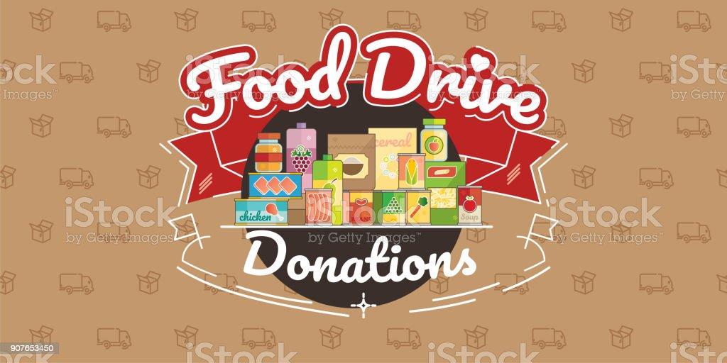 Food Drive charity movement, vector illustration Food Drive non perishable food charity movement, vector badge logo illustration Aspirations stock vector