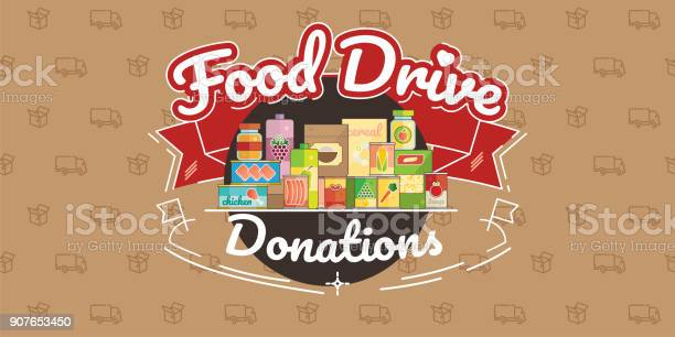 Food Drive Charity Movement Vector Illustration Stock Illustration - Download Image Now