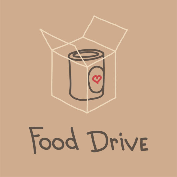 Food Drive charity movement, vector illustration Food Drive non perishable food charity movement, vector badge logo illustration food drive stock illustrations