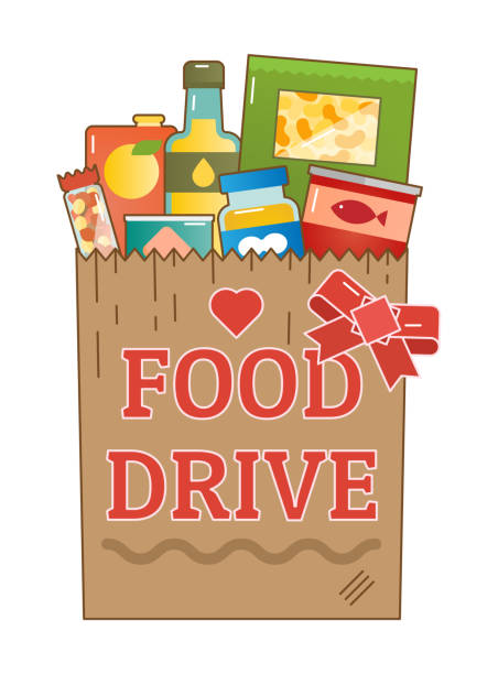 Food Drive charity movement vector logo Food Drive charity movement logo vector illustration with food package food drive stock illustrations