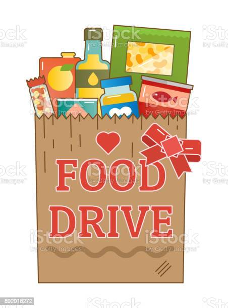 Food Drive Charity Movement Vector Logo Stock Illustration - Download Image Now