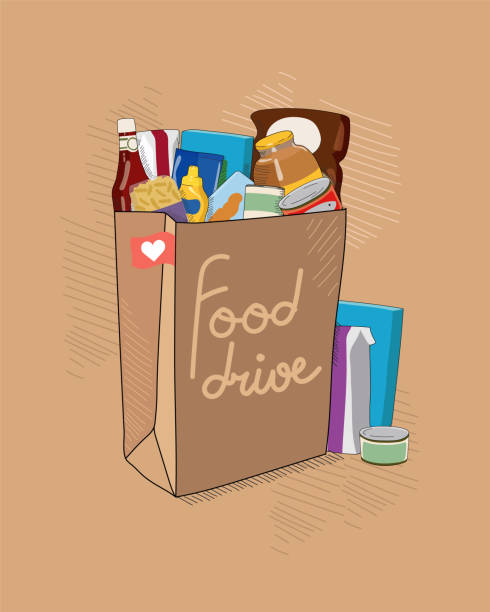 Food Drive charity vector illustration with brown paper bag with tittle and non perishable food packages. Help for people. Food Drive charity vector illustration with brown paper bag with tittle and non perishable food packages. Food bank help for people. food bank stock illustrations