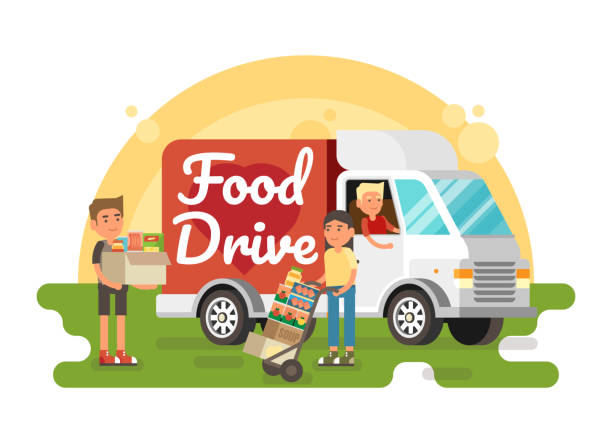 Food Drive non perishable food charity movement Food Drive non perishable food charity movement, vector badge logo illustration food drive stock illustrations