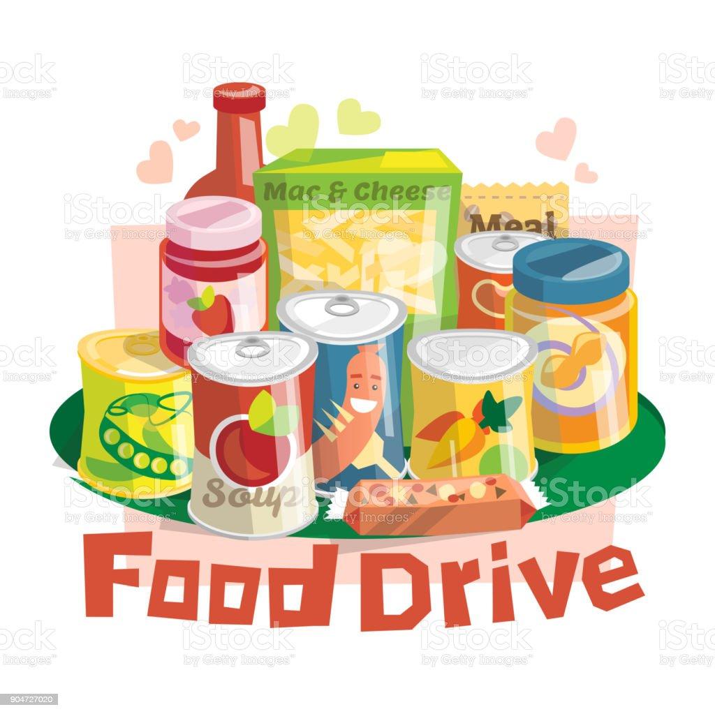 Food Drive non perishable food charity movement Food Drive non perishable food charity movement, vector badge logo illustration Altruism stock vector