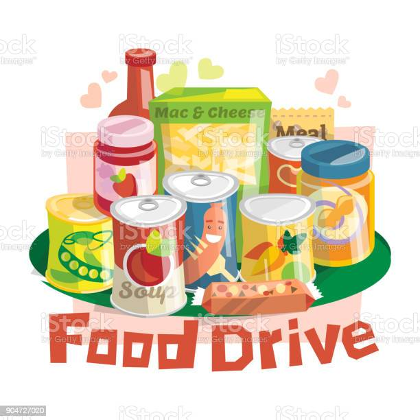 Food Drive Non Perishable Food Charity Movement Stock Illustration - Download Image Now