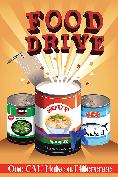 Food Drive Poster A vector illustration of food drive poster design food drive stock illustrations